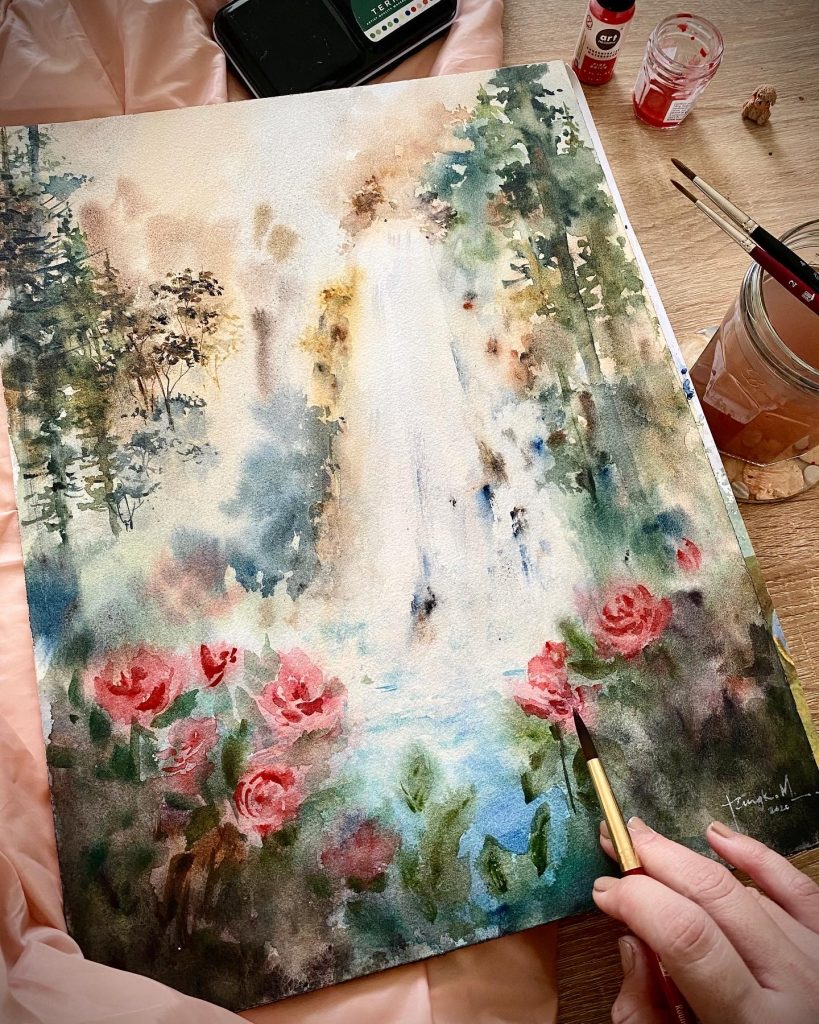 watercolor waterfall landscape with trees on the side and roses in the four front.