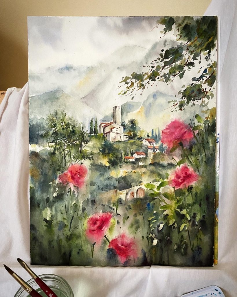 watercolor landscape with buildings in the distance and roses in the four front