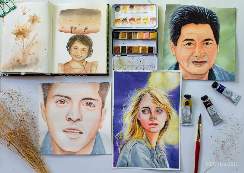 4 water color portraits a child, two men and a blond woman.  an open confection pallet in complexion, three tubes of artiest grade watercolor tubes in yellow, red and blue.